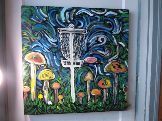 Disc Golf Trip 3 original painting on wood