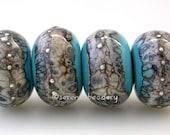 TURQUOISE Blue Silvered Granite Handmade Lampwork Glass Bead Set - taneres - glossy or matte