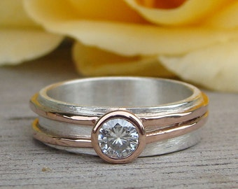 Moissanite Engagement or Wedding Ring with Recycled 14k Rose Gold and Recycled Sterling Silver, Made to Order