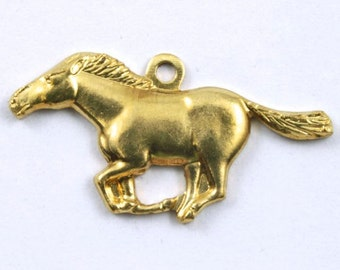 22mm Raw Brass Running Horse #172