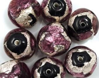 18mm Handmade Amethyst/Silver Foil Bead #XJH002
