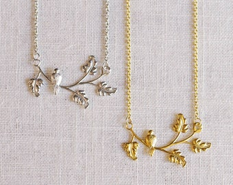 SALE . bird on a branch necklace . bird jewelry . delicate bird necklace . branch necklace . dove necklace . woodland jewelry // 1CORT