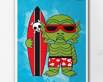 Surfin Swampy Wall Art Print