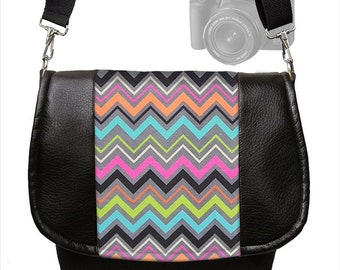 Chevron Dslr Camera Bag Purse Slr  Vegan Leather Camera Bag colorful pink orange blue gray  Zipper Padded Deluxe Model MTO