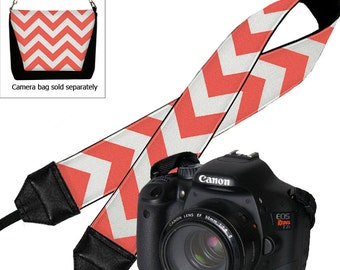 CLEARANCE Chevron Deluxe Padded Camera Shoulder Strap Women's Dslr Padded Camera Strap Nikon Canon Binocular Orange Coral White RTS