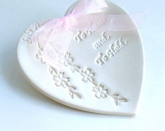 Wedding, Ring Bearer Pillow,  Porcelain wedding ring Dish, Heart Shaped, Hand Built, To Have and to Hold, Shidare Sakura, Choice of Two