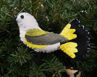 Redstart Warbler Embroidered Felt Ornament Home Decor