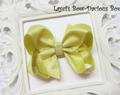 Gold Metallic Hair Bow, you choose size, small, medium, large, extra large, competition bow, dance hair accessory, international shipping