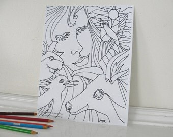 Printable Coloring Page, Woodland Woman with Deer Coloring Page for Adults and Children, Downloadable PDF File