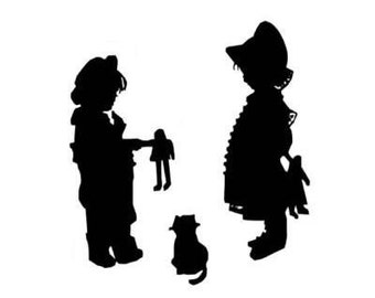 CHILDREN SHARING silhouette large unmounted rubber stamp, vintage Victorian style, days gone by, Sweet Grass Stamps No. 1