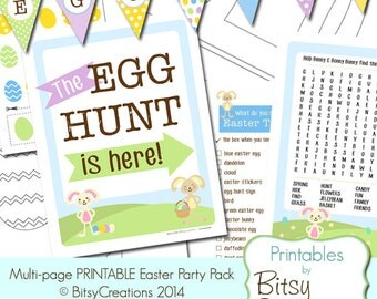 50% OFF Multi Page PRINTABLE Easter Party Pack by BitsyCreations