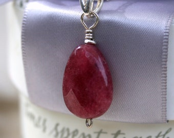 Raspberry Jade Pendant with Sterling Bailn- chain not included