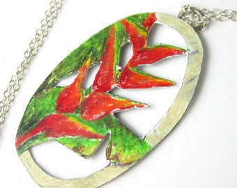 Heliconia Necklace - Prismacolor on Copper and Sterling Silver Chain