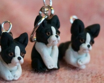 Boston Terrier Polymer Clay Stitch Markers set of 4 Miniature Sculpted Dog Animal Puppy Knit, Crochet Accessories