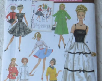 Simplicity Archives 5785 Sewing Pattern Doll Clothes Formal Gown, Wardrobe Pattern for 11 - 1/2 inch Fashion Dolls