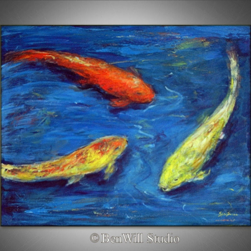Koi fish painting original impressionist art colorful fish for Colourful koi fish
