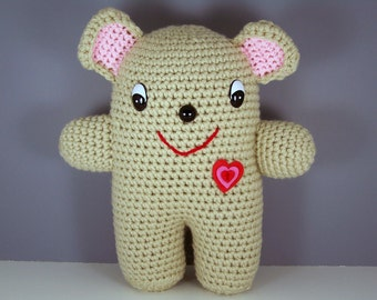 Crochet Bear Amigurumi Stuffed Teddy Bear Plush , Crocheted Bear , Stuffed Bear  -  Chubby Bear