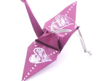 Silver Hearts on Mulberry Origami Crane Ornament Wedding Favor Plum
