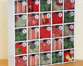 Green and Red Advent Calendar with Packages and Stocking  H1006