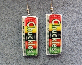 CLOSEOUT! Chuckles Candy Retro Kitsch Dangle Polymer Clay Junk Food Earrings Hypo Allergenic Nickle-Free