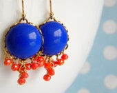 Cobalt Blue Vintage Coral Quartz Cluster Earrings