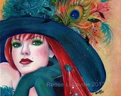 Pia Dora Halloween witch print by Renee L. Lavoie