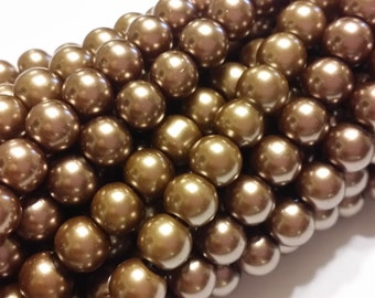Glass Pearl Beads - 42 pc - Taupe Glass Pearl Beads - 8mm - Round - Dyed - Taupe Pearl Beads