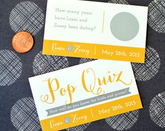 Fun Wedding Scratch Offs - Bride and Groom Pop Quiz