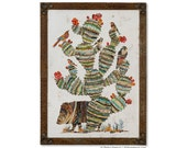Desert Morning Javelina Southwest Cactus Art Collage