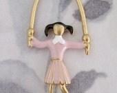 2 pcs. vintage cold enamel pink jumprope girl charm 40x21mm - f2928