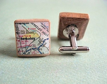 Berkeley California Map Scrabble Cufflink Set - recycled eco gift - repurposed - map cufflinks