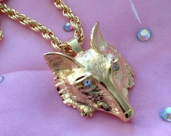 Vintage Fox Head Necklace