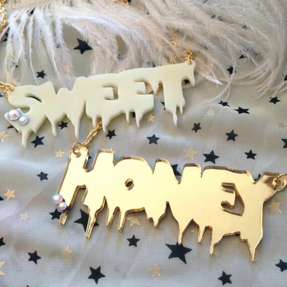 SWEET or HONEY Acrylic Necklace