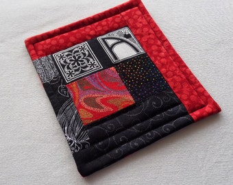 Red and Black Quilted Patchwork Coffee Coaster with Monogram A