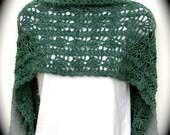 Women's crochet shawl, pashmina shawl, rectangular shawl, crochet stole, fall winter shawl, dressy shawl in teal heather, floral stitch