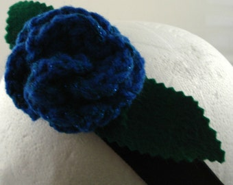 Crocheted Rose Headband - Royal Blue Sparkly Rose on Black Stretchy Headband (SWG-HH-PO01)