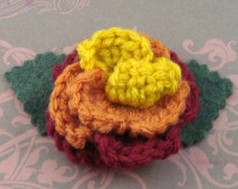 Crocheted Rose Lapel Pin - Serenity (SWG-PL-SE02)