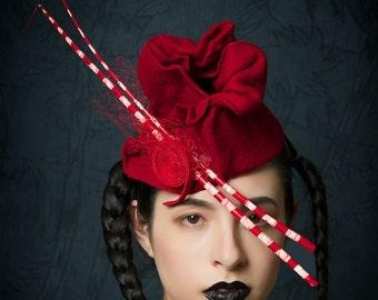 Red Hat -  Headpiece Red Fascinator -  Avante Garde Hat