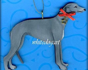 Handpainted Gray Greyhound Christmas Ornament