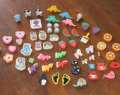 Erasers collection vintage 1970s 1980s 1990s 2000s Ponies Fruit Dinosaurs 58 erasers collectables