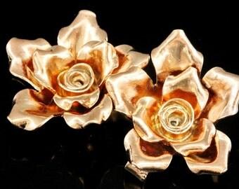 KZ-243 thai karen hill tribe handmade silver 1 rose gold vermeil large wild rose charm