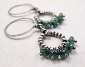 Silver Beaded Ring Earrings with Dark Green Apatite