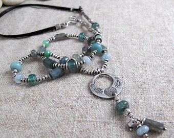 Mixed Gemstone Silver and Leather Necklace with Folkart Pendant