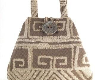 beige purse, fabric tote bag converts to hobo bag, shoulder handbag, diaper bag, book bag, shoulder bag, everyday bag,  fabric handbag
