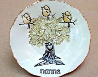 NONNA family tree with 3 Birdies Ceramic  Trinket Bowl Mothers Day