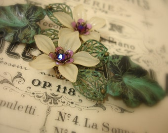 eTernal summer exquisite compilation of vintage finds with hand patina'd verdigris components . verdi with pale yellow and purple