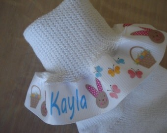 Ruffle Socks Personalized for Easter....Bunny Pastels for Infant Toddler Girls