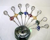 Red, Yellow, Green, and Blue Glass Lampwork Beads Stainless Steel Cocktail Appetizer Picks Set of 8