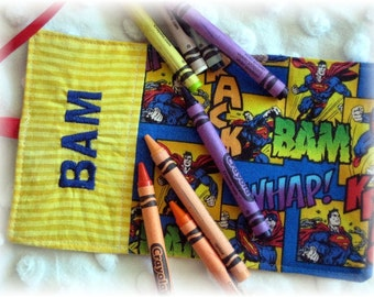 Superman Crayon Wrap Personalized Roll Up Holder