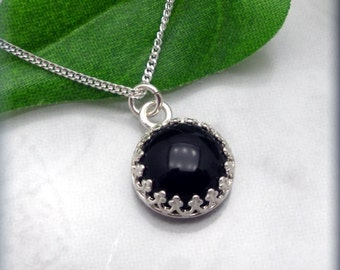 Black Onyx Necklace, Gemstone Jewelry, Cabochon Necklace, Gemstone Necklace, Onyx Jewelry, Minimalist Necklace, Sterling Silver (SN769)
